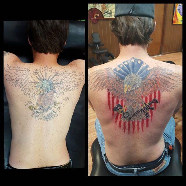 American Eagle Back Tattoo