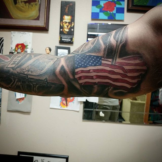 American Flag Bicep Tattoo