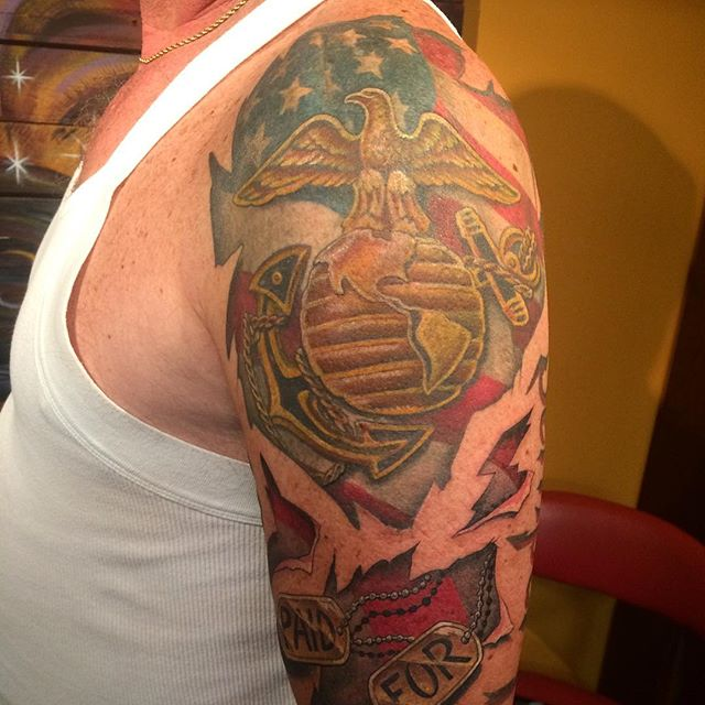 Awesome Marines Shoulder Tattoo