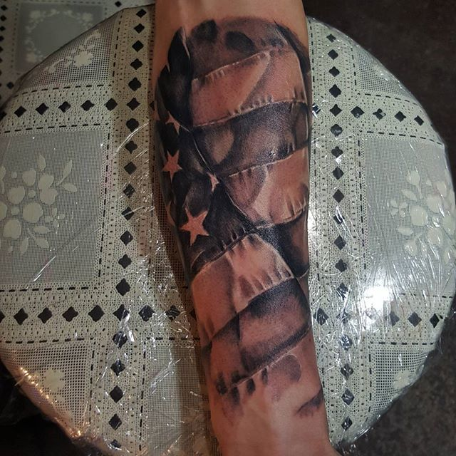 Black And White American Flag Forearm Tattoo