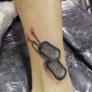 Dog Tags Shin Tattoo