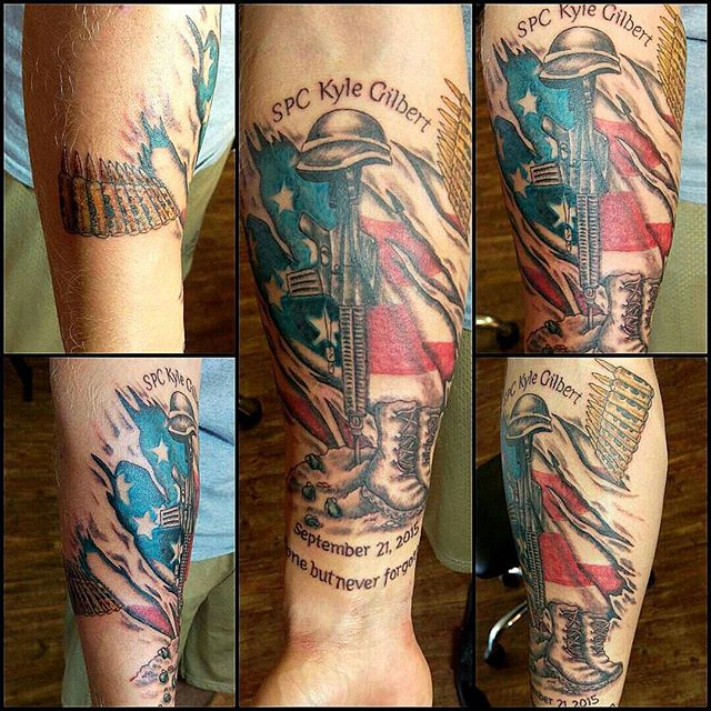 Fallen Soldier Forearm Tattoo