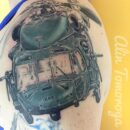 Helicopter Left Shoulder Tattoo