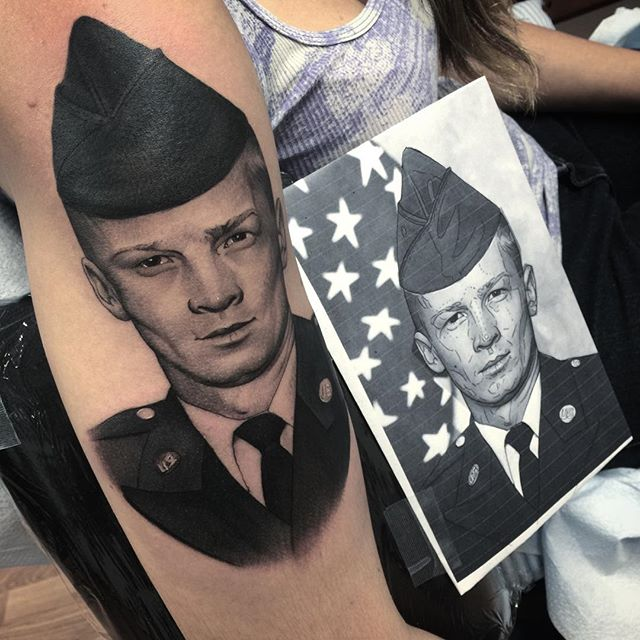 Memorial Portrait Forearm Tattoo