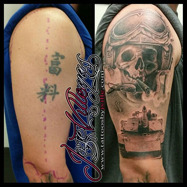 Military Tank Right Shoulder Tattoo