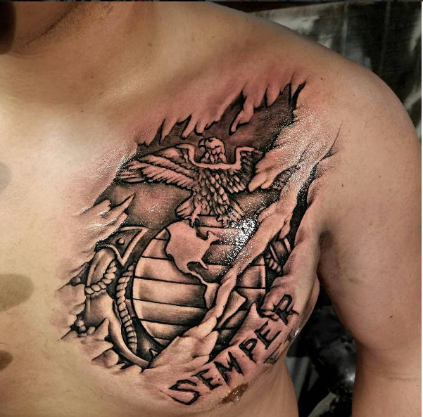 Military Tattoo USMC Rip Out Ink