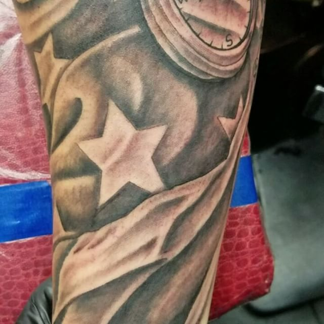 Veteran American Flag Sleeve Tattoo