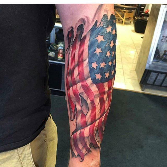 Veteran Flag Forearm Tattoo