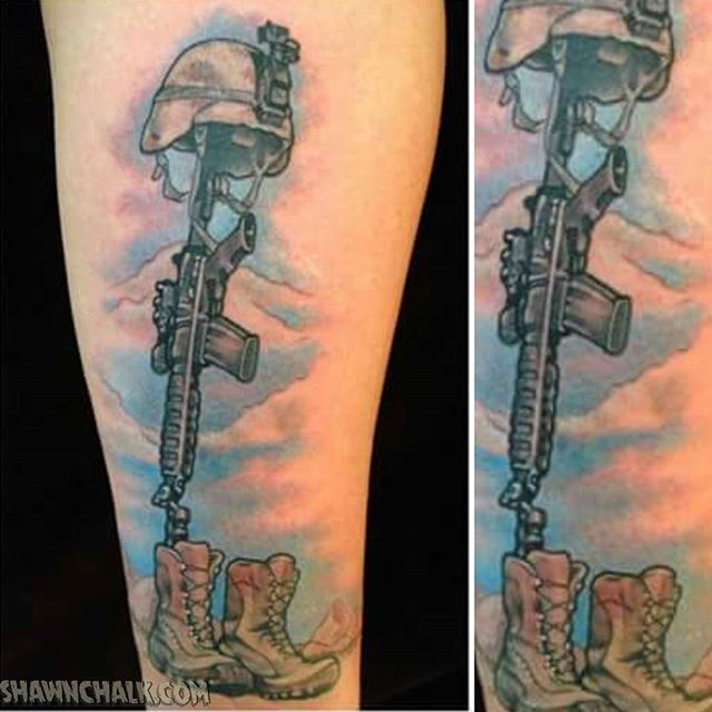 Veteran Tattoos M16 In Boots