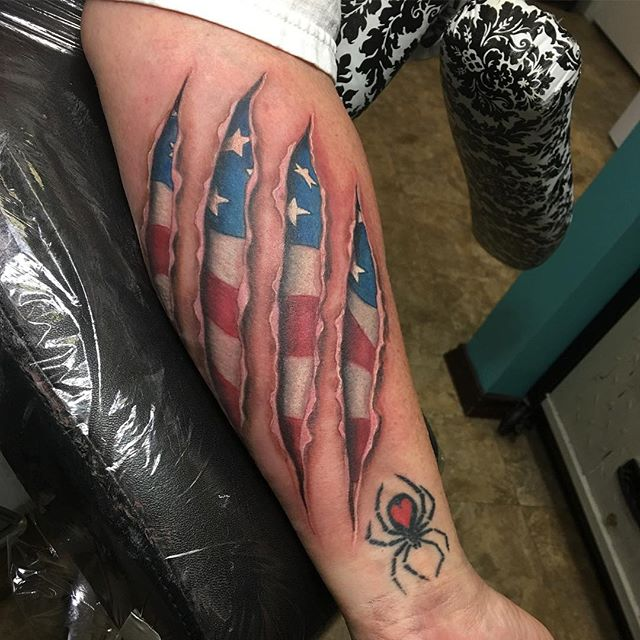American Tattoo Tear Through Shin Tattoo