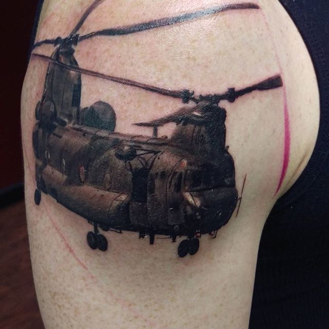 CH-47 Transport Helicopter Tattoo
