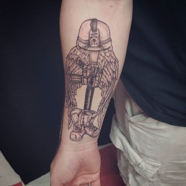 Fallen Soldier With Wings Forearm Tattoo