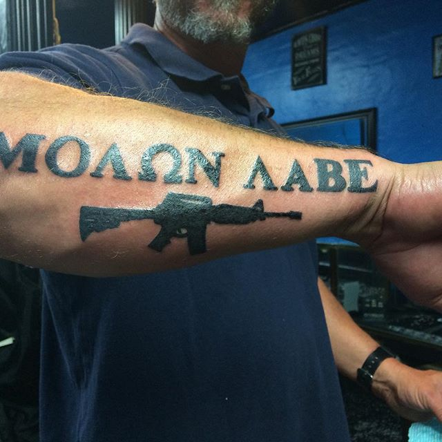 Molon Labe Forearm Tattoo