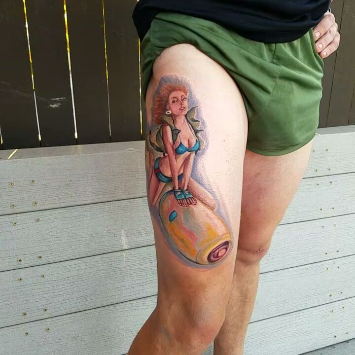 Pinup Bomber Girl Thigh Tattoo