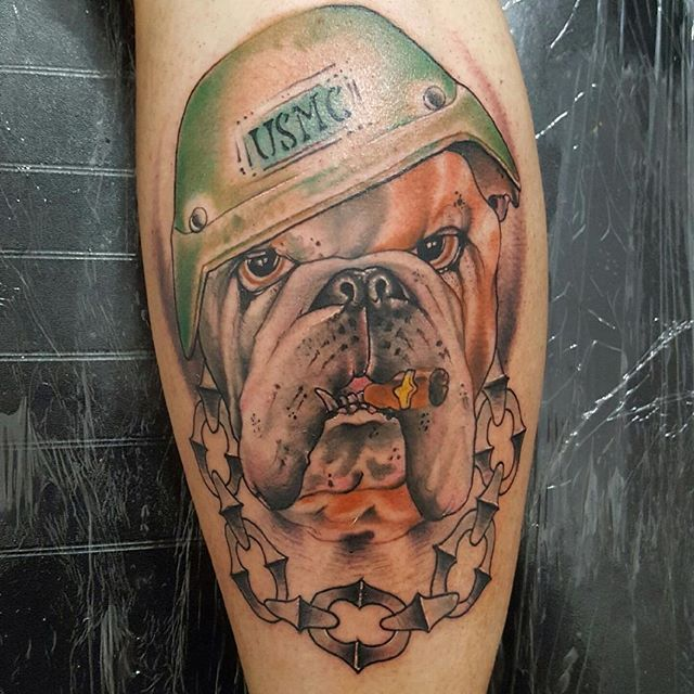 US Marine Corp Calf Tattoo