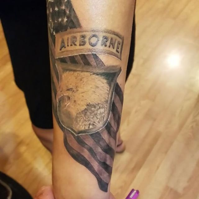 USA Airborne Forearm Tattoo