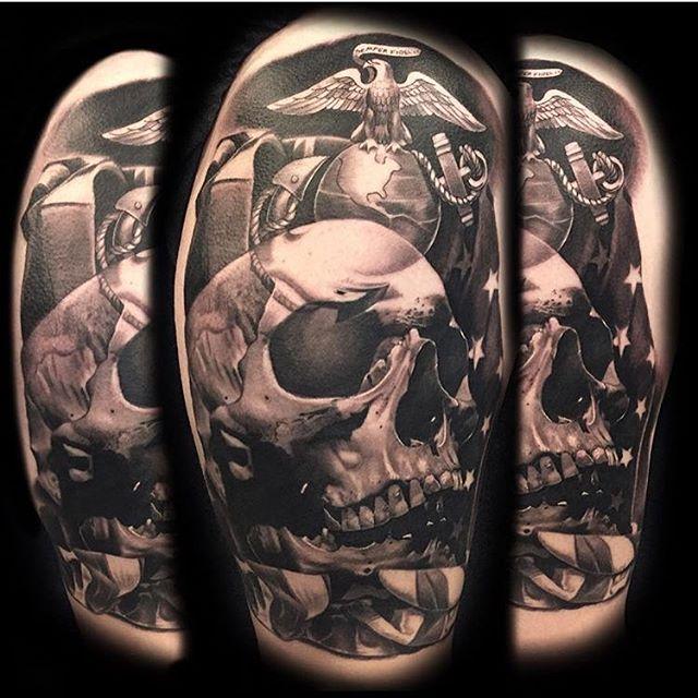 USMC Skull And Flag Tattoo