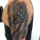 American Flag Left Shoulder Tattoo