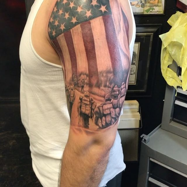 American Flag Soldier Tribute Tattoo