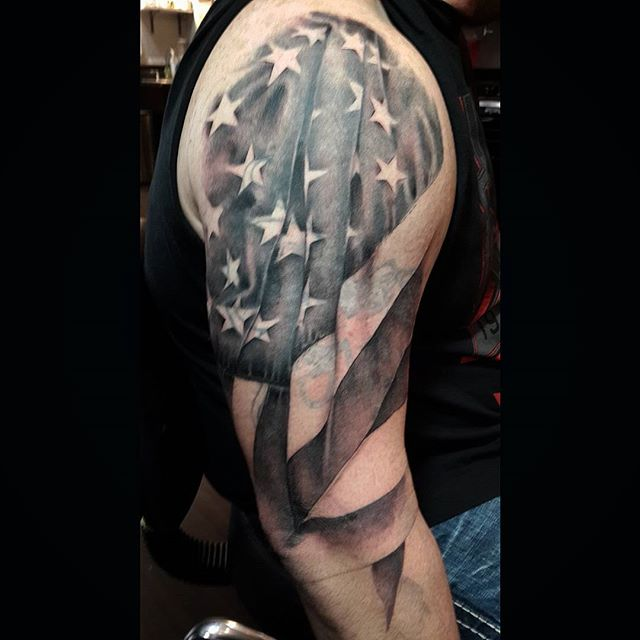 American Flag Tattoo Shoulder Tattoo