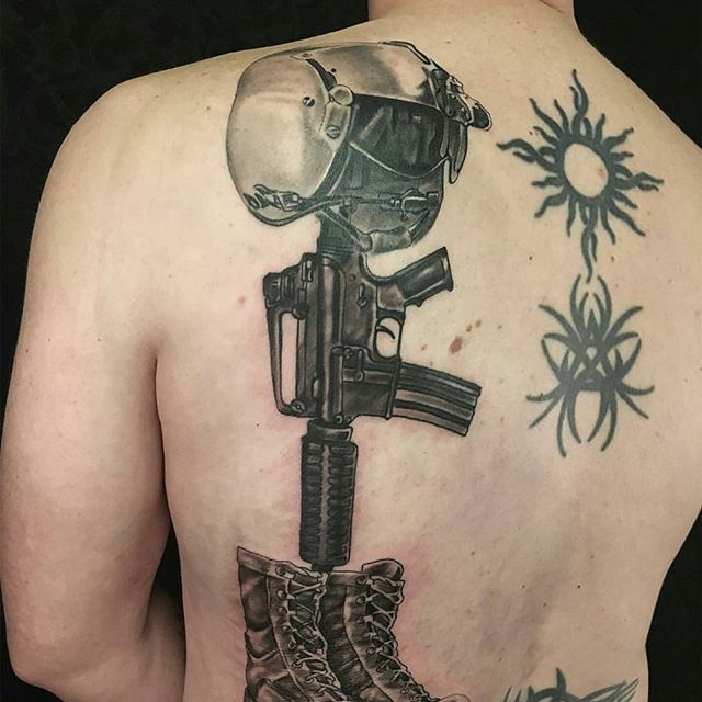 Fallen Soldier Back Tattoo