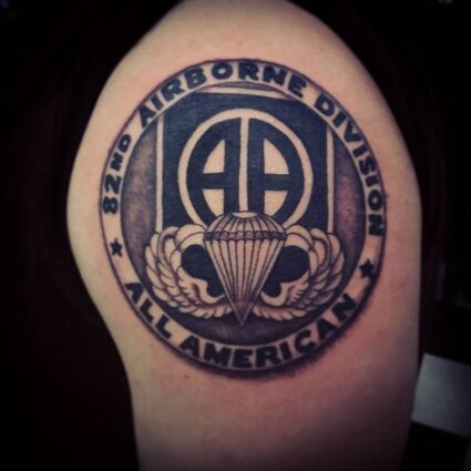 Airborne Left Shoulder Tattoo