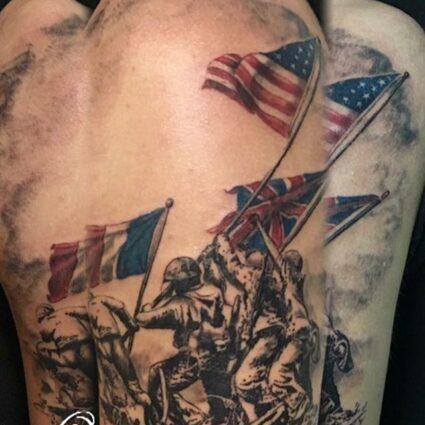 Raising The Flag On Iwo Jima Tattoo
