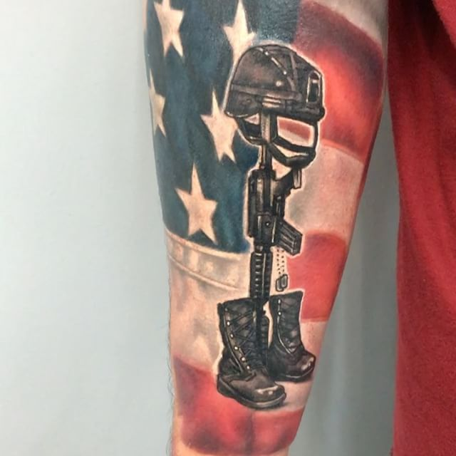 Right Forearm 3D Flag / Memorial Tattoo