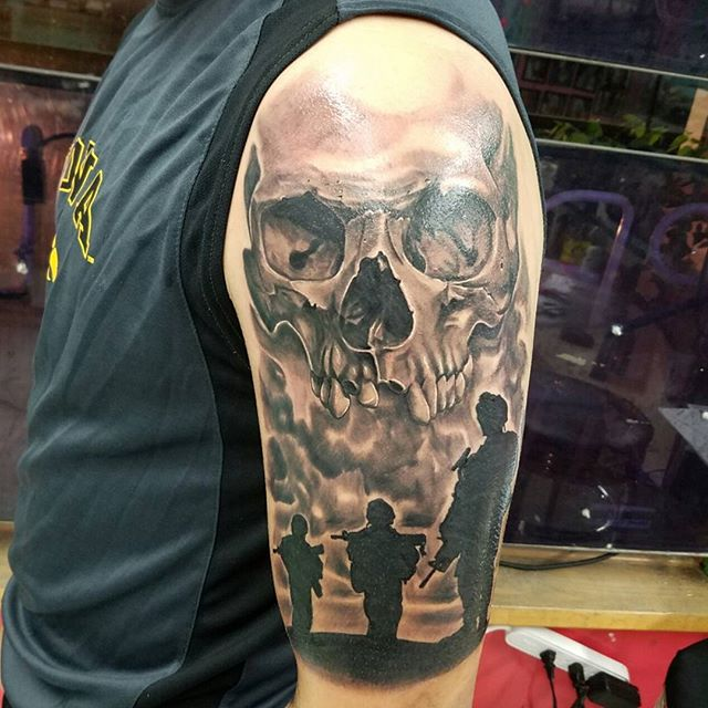 Skull Soldiers Patrolling Shoulder Tattoo