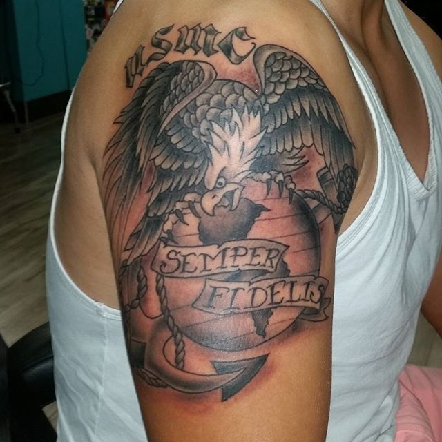 USMC Marines Left Shoulder Tattoo
