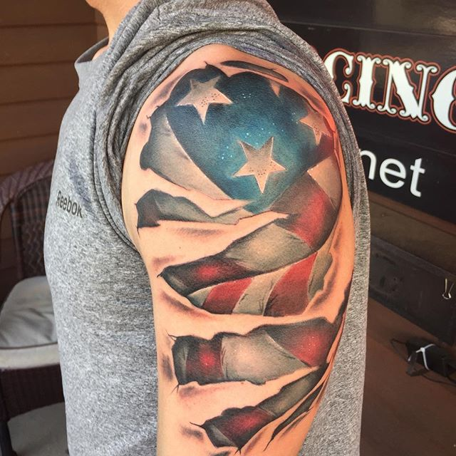 3D American Flag Shoulder Tattoo