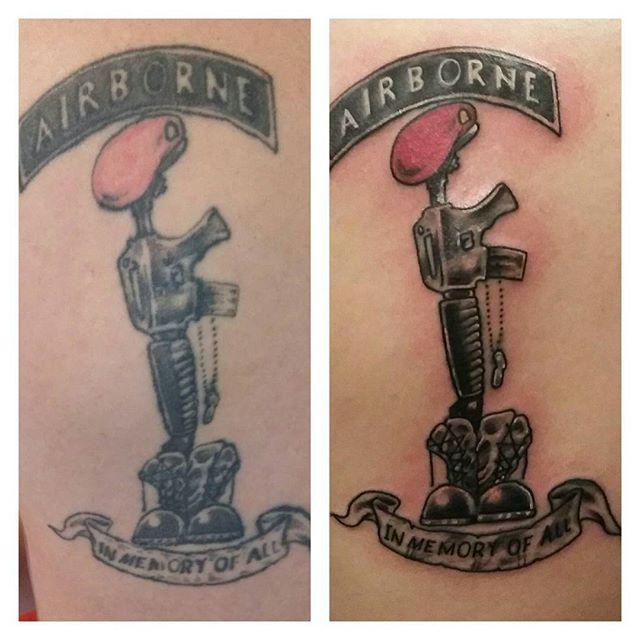 Airborne Fallen Soldier Touch Up Tattoo