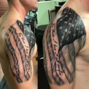 Amazing American Flag Shoulder Tattoo