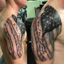 Amazing American Flag Shoulder Tattoo