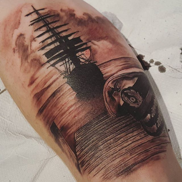 Amazing Navy Forearm Tattoo