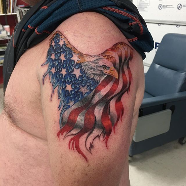 American Flag Eagle Tattoo