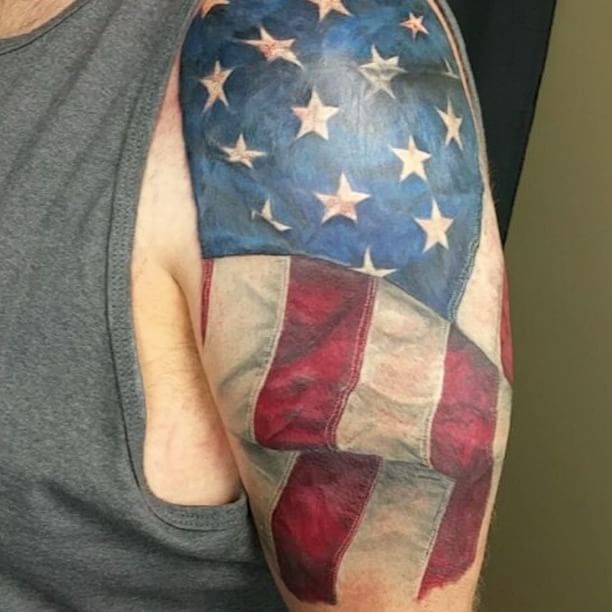 Colored US Flag Shoulder Tattoo