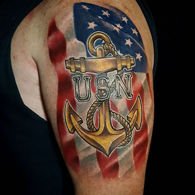 United States Navy Shoulder Tattoo