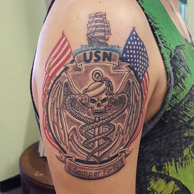 US Navy Corpsman Shoulder Tattoo