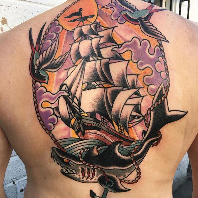 US Navy Full Back Tattoo