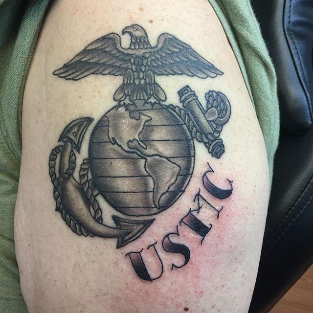 USMC Left Shoulder Tattoo