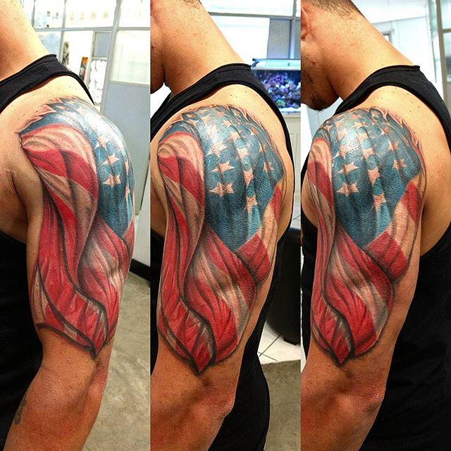 American Flag Left Shoulder Tattoo