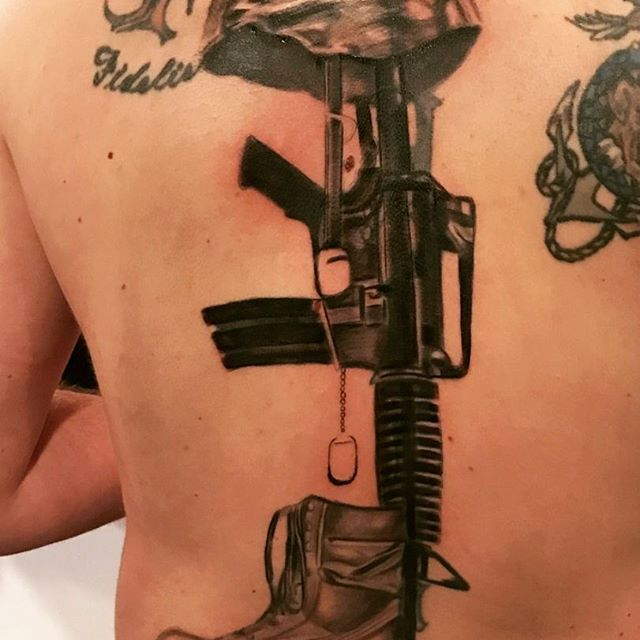 Fallen Soldier Full Back Tattoo