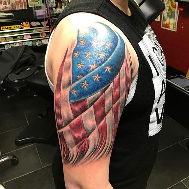 American Flag Right Arm Tattoo