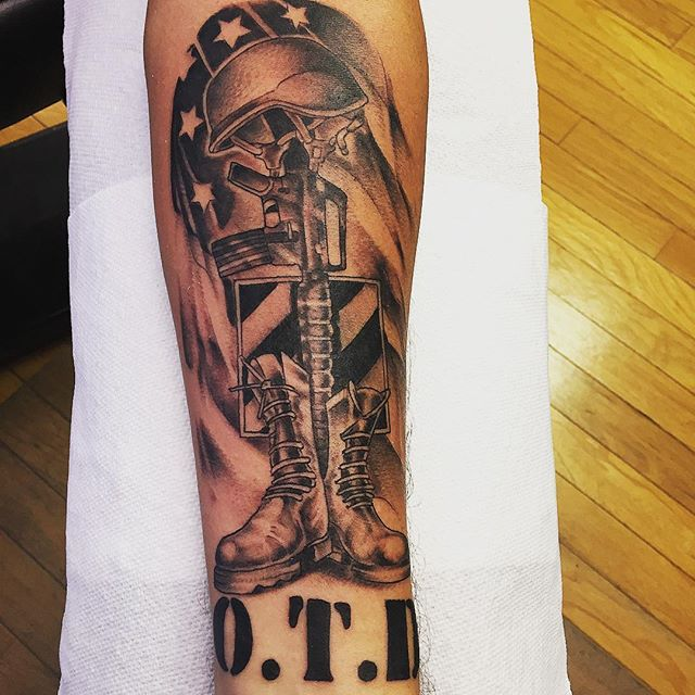 Fallen Soldier Forearm Tattoo