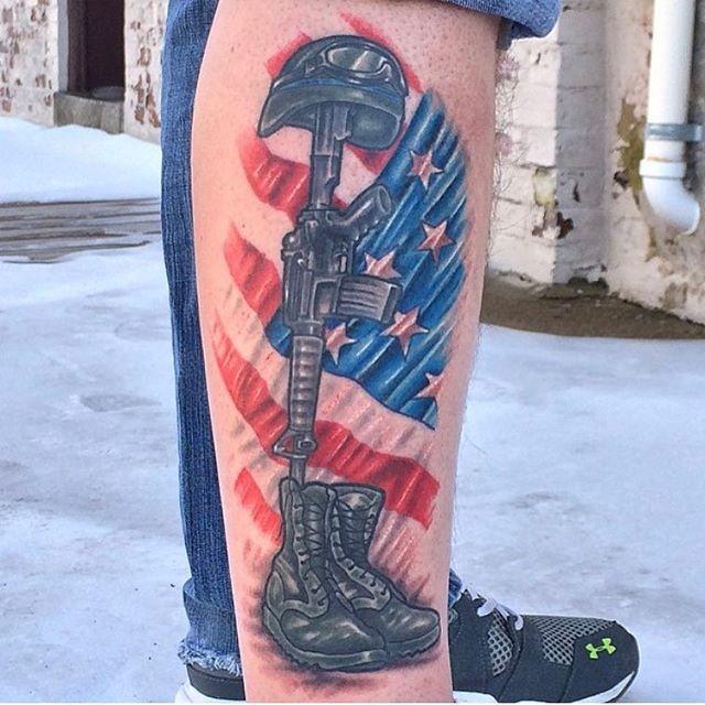 Colored Fallen Soldier Memorial Tattoo