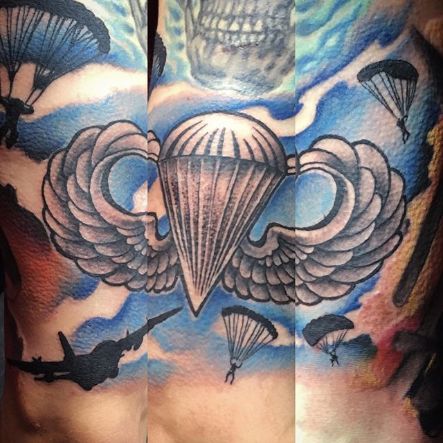 Paratrooper Full Back Tattoo