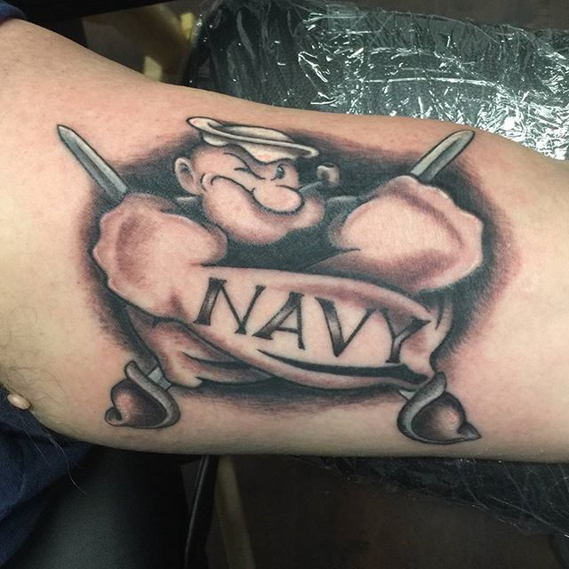 Popeye Navy Forearm Tattoo