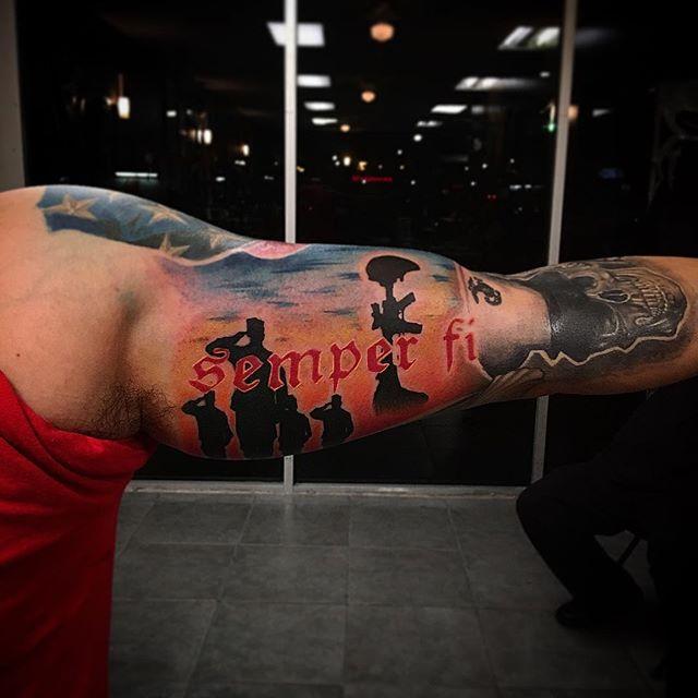 Semper Fi Bicep Tattoo