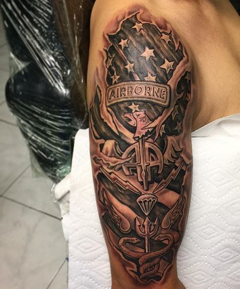 US Airborne Shoulder Tattoo